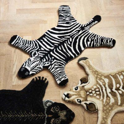 animal shaped rug zebra black and white by Classic Collection