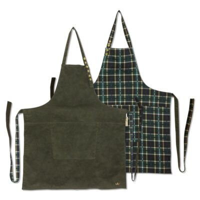 apron reversible corduroy checkered green by Dutchdeluxes