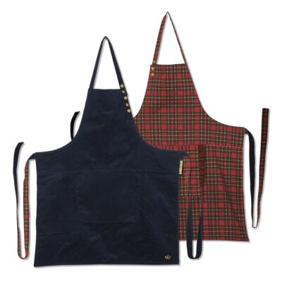 apron reversible corduroy checkered red by Dutchdeluxes