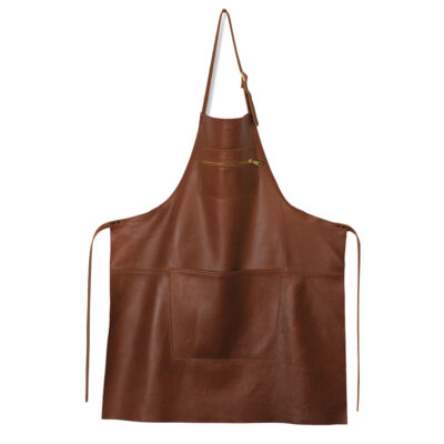 apron zipper leather classic brown by Dutchdeluxes
