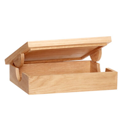 storage box with lid oak by Hubsch