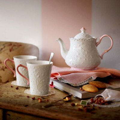 Candy White teapot with pink handle by Neavita