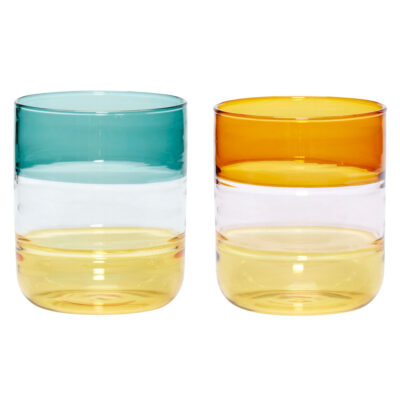 Set fo 2 Glasses clear amber green by Hubsch