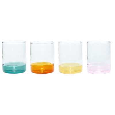 Set fo 4 Glasses clear amber green yellow pink by Hubsch