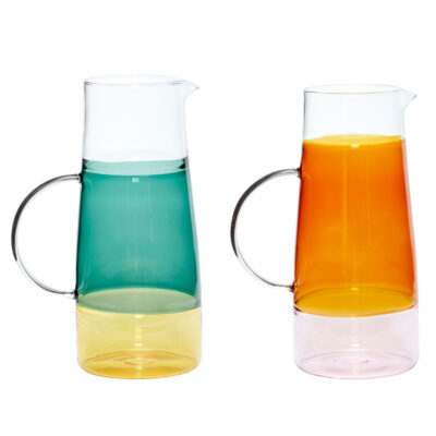 Jug Glass clear green and amber by Hubsch