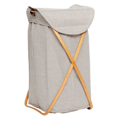 Laundry basket grey fabric bamboo by Hubsch