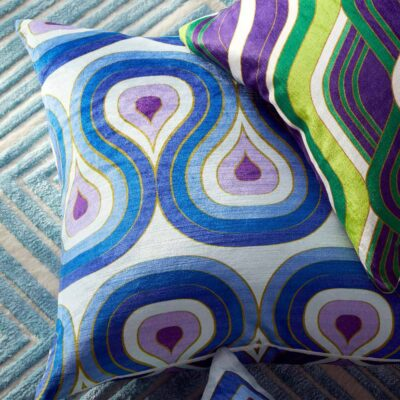 Milano concentric loops pillow Purple Navy by Jonathan Adler