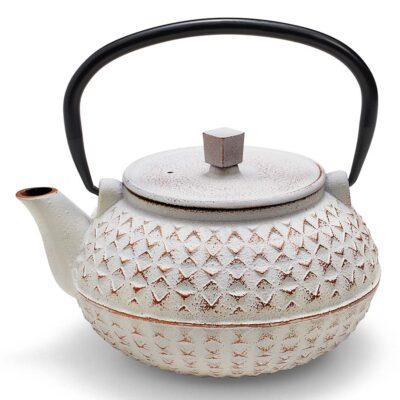 Miyako white cast iron teapot by Neavita