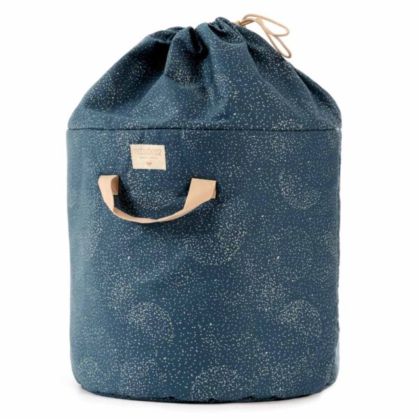 Bamboo toy bag large gold bubble night blue by nobodinoz