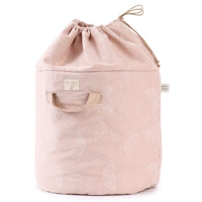 Bamboo toy bag large white bubble misty pink by nobodinoz