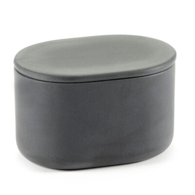 Box with lid oval L grey Cose designed by Bertrand Lejoly Serax