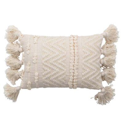 Cushion nature cotton with pompoms by Bloomingville