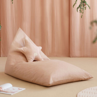 Essaouira beanbag white bubble misty pink by nobodinoz