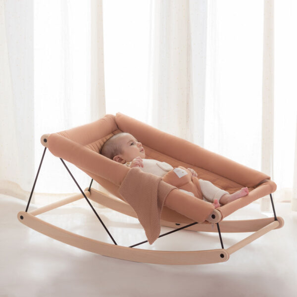 Growing green baby bouncer sienna brown by Nobodinoz