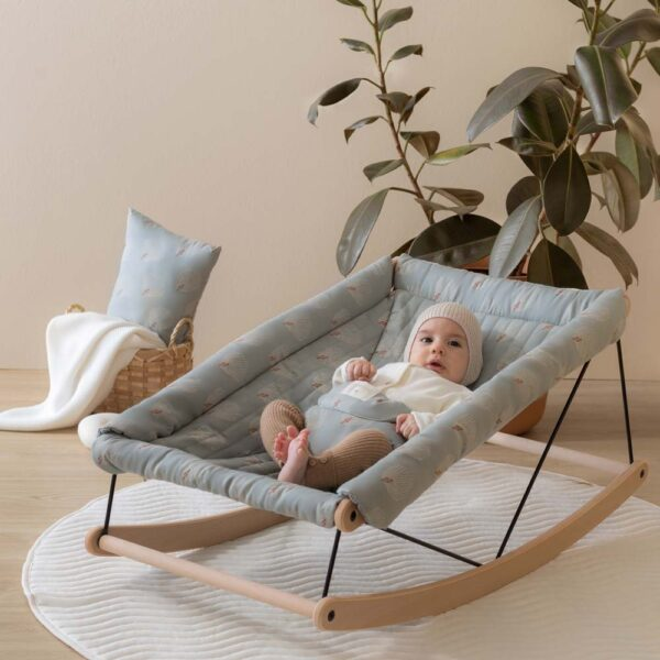 Growing green baby bouncer white gatsby antique green by nobodinoz
