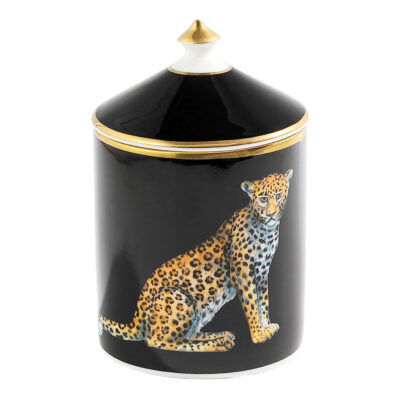 Leopard black lidded candle by Halcyon Days