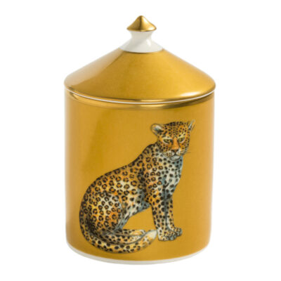 Leopard gold lidded candle by Halcyon Days