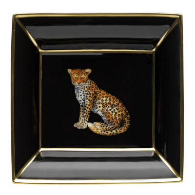 Leopard square trinket tray by Halcyon Days