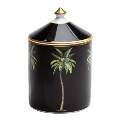 Palm black lidded candle by Halcyon Days