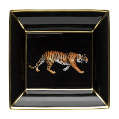 Tiger square trinket tray by Halcyon Days