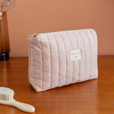 Travel vanity case white bubble misty pink by Nobodinoz