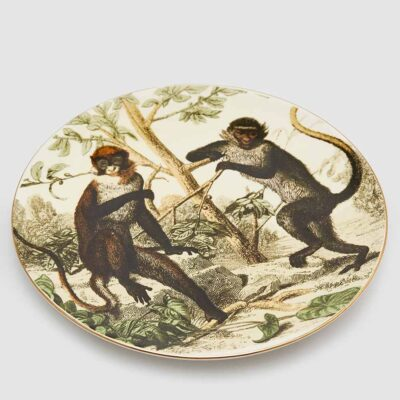 Decorative plate with monkeys