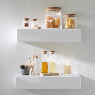 Gio Line Container Set & Cork Stoppers & Beech Base H8.5cm