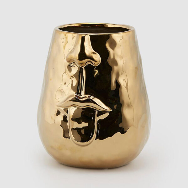 ceramic Gold face vase with tongue