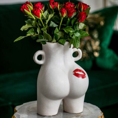 Latzio ceramic Kiss my Bum vase with red lips