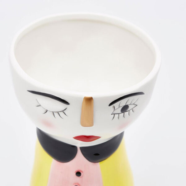 ceramic People face vase pink and yellow