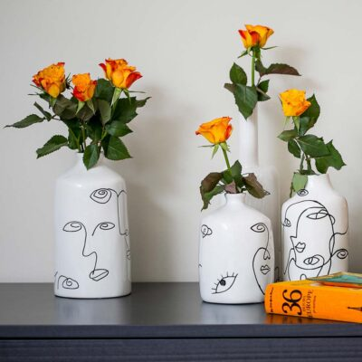 Picasso ceramic white vase with drawing faces