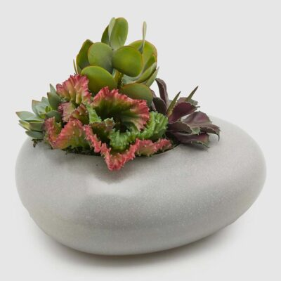 ceramic grey planter with faux plant