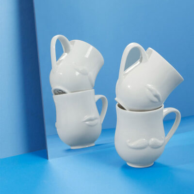mr mrs muse reversible white porcelain mug by Jonathan Adler