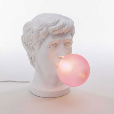 seletti lighting wonder david with chewing gum bubble