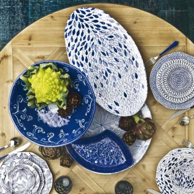 Blue Oval Platter by Rose & Tulipani