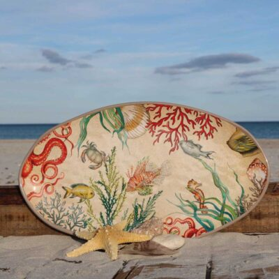 Sea life Oval Platter by Rose & Tulipani