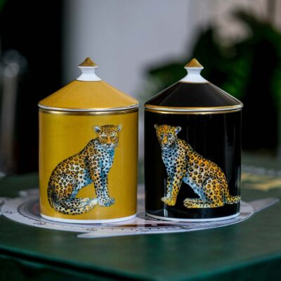 Leopard lidded candles by Halcyon days