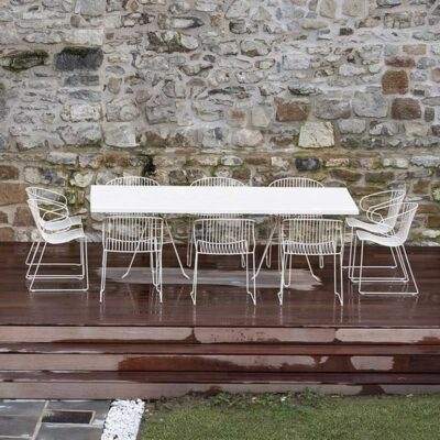 Capri outdoor long dining table white by Isimar