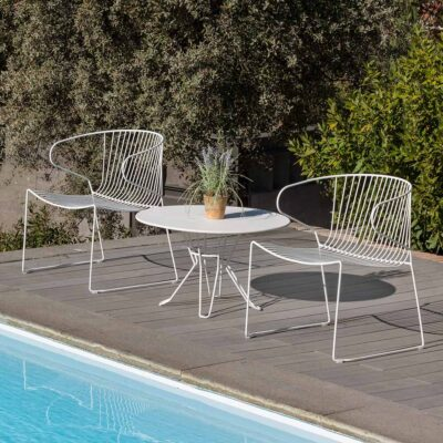 Capri low outdoor side table white by Isimar