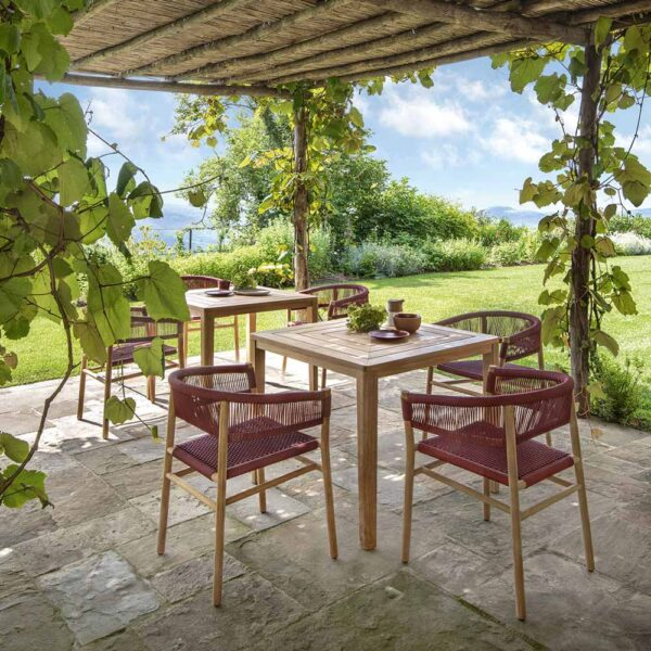 Kilt ruby outdoor dining armchair by Ethimo