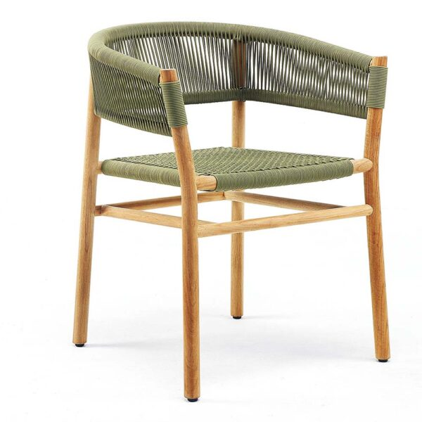 Kilt olive outdoor dining armchair by Ethimo