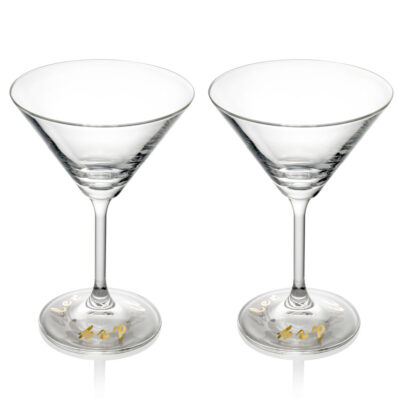 The bartender signature set of 2 single martini goblet gold decoration by IVV